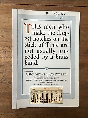 Antique May 1923 Calendar Osboldstone Co Melbourne Printer Vintage Card