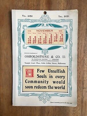 Antique November 1916 Calendar Osboldstone & Co Melbourne Printer Art Nouveau