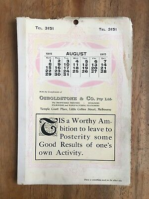 Antique August 1915 Calendar Osboldstone & Co Melbourne Printer Art Nouveau