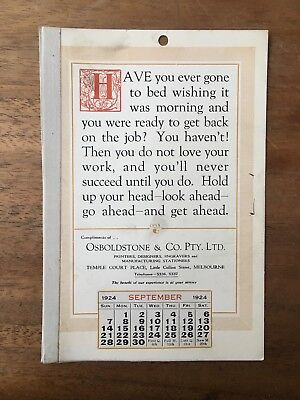 Antique September 1924 Calendar Osboldstone Co Melbourne Printer Vintage Card