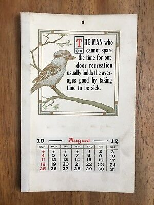 Antique August 1912 Calendar By Osboldstone & Co Melbourne Printers Kookaburra