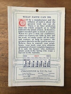 Antique May 1920 Calendar Osboldstone & Co Melbourne Printer Vintage Card