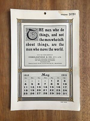 Antique May 1913 Calendar By Osboldstone & Co Melbourne Printer Art Nouveau