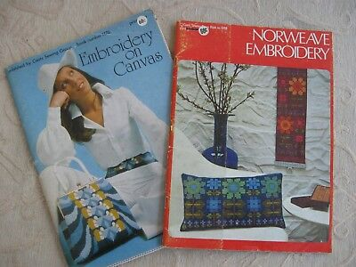 2 retro vintage TAPESTRY EMBROIDERY pattern BOOKS Scandi NORWEAVE EMBROIDERY
