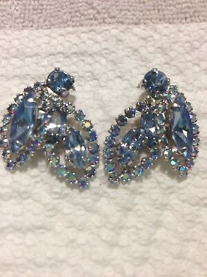 Vintage Weiss Borealis  Crystal Earrings Clip 1950's Bridal Jewelry