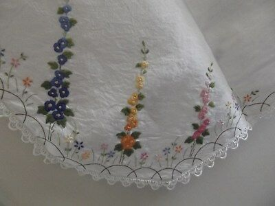 Vintage HAND Embroidered Table Cloth/Cover - Lace/Crochet Edge- Square 130x130cm