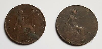 1902 & 1907 EDWARD VII ENGLISH Penny's See pics for verification of condition.