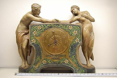 Antique Art Nouveau Deco Goldscheider French Austrian Old Terracota Mantel Clock