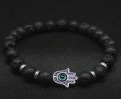 8MM Natural lava-rock mala man bracelet Lucky yoga meditation