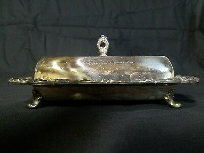 Poole EPCA Silver plate Butter dish with glass and lid Lancaster Rose