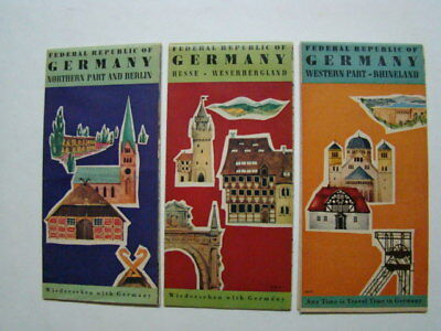 (3) 1957 Federal Republic of Germany Fold-Out Tourist Travel Road Maps Berlin