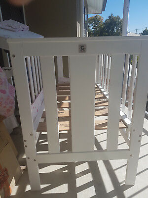 Childcare Grange XT White Wooden Cot / toddler bed frame with mattress