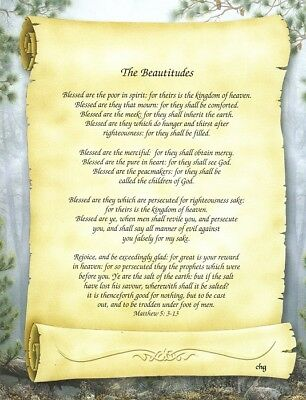 """""""The Beautitudes"""" Inspirational Religious Christian Print Gift - Blessed Are"""
