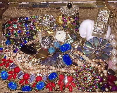 STUNNING Vintage Jewelry Lot- 60 Pieces- Antique Box Included