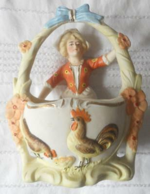 Antique Victorian C1890 Bisque Pottery Maid With Basket Easter Chickens Chick