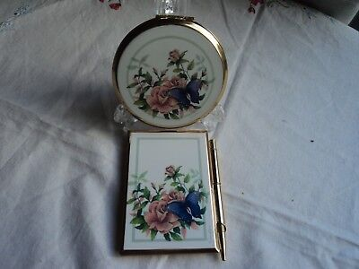 Stratton vintage powder compact and matching enamel notebook - Butterfly / Rose