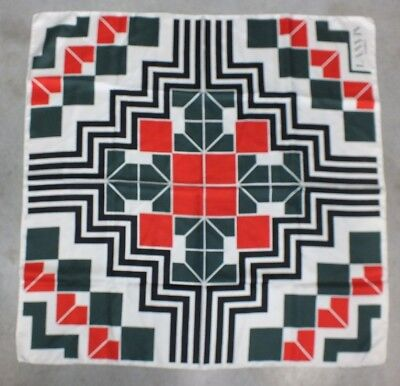 Vintage Lanvin Paris 100% Silk Scarf Wrap - Geometric Design - Gorgeous - Rare