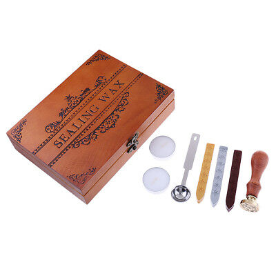 Retro Wood Classic Wax Seal Stamp+Sealing Wax Sticks for Wedding Invitation
