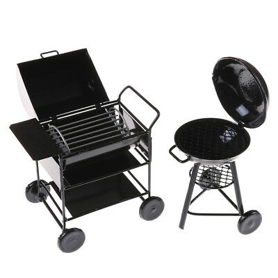 1:12 Black Iron BBQ Grill Miniature Garden Outdoor Doll House Accessory Gift PB