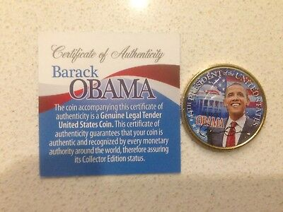 Barack Obama *44th President* HAWAII GOLD Coloured State Quarter