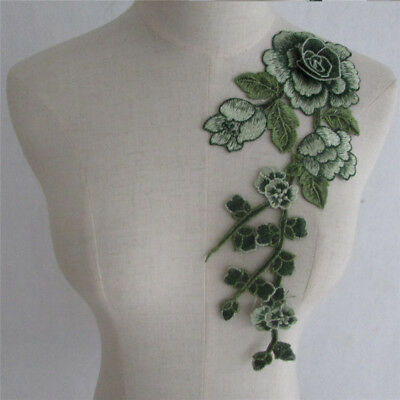 Rose Embroidered Applique Sew Patches Badge Neckline Collar Lace Trim YL743