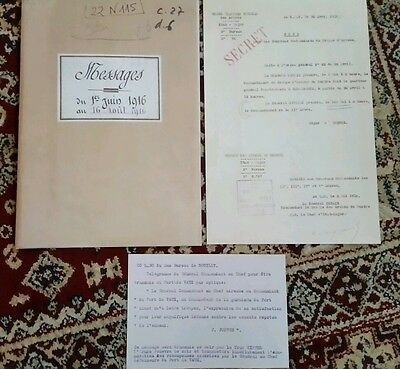 Copy of  WW1 SOMME FORT VAUX  Documents from Joffre and a message logbook.