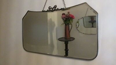 Art Deco Bevel Silver Plated  WALL MIRROR Ribbon Crest . Large 70cm x 38cm