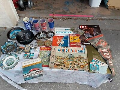 Vintage 1964 NY WORLD'S FAIR LOT Game Souvenirs Postcards Maps Cups Record Card