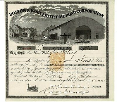 Boston & Worcester Rail Road Corporation - 1867 - Certificate 9 shares  $ 900