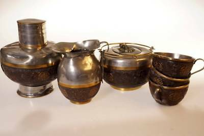 A Set Of Chinese Antique  Wooden And Silver  Tea Pot With Tea Cups  6 Pieces