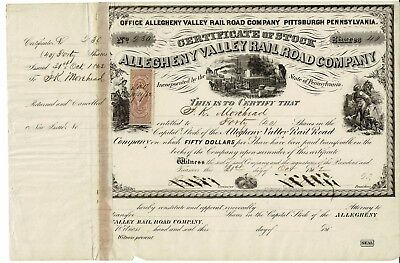Allegheny Valley Rail Road Company - 1862 - Certificate 40 shares