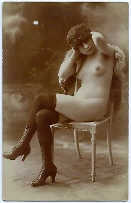 1910 Original French RPPC Nude Girl Delicate Beauty Lingerie Stockings