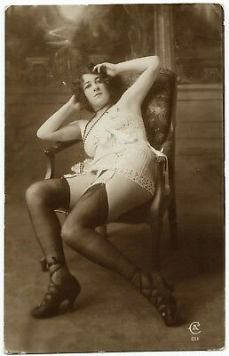 1910 Original French RPPC Nude Girl Attractive Beauty Lingerie Stockings