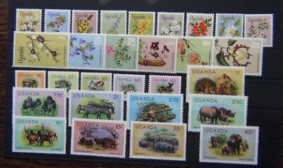 Uganda 1969 Flowers set 1979 Wildlife set MM