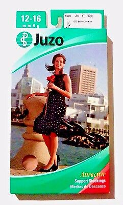 Juzo Sheer Compression Support Stockings 12-16 mmHg AD Sz 3 Nude Below Knee