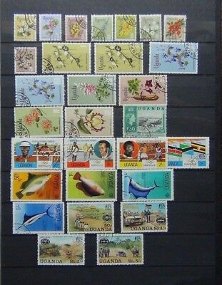 Uganda 1969 Flowers values to 20s 1976 Olympics 1977 Fish Safari Used