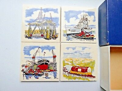 Rare Vintage Set of 4 Vintage North Sea Oil Rigs Supply Ceramic Coasters Boxed