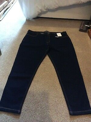 Bnwt M&S Dark Blue Skinny Mid Rise Jeans Size 20 Regular