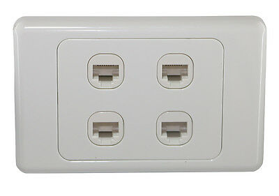 4 Gang Wall Plate Wallplate Clipsal Style 1 RJ45 Cat 6 Data Network LAN Jack
