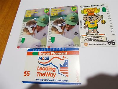 TELSTRA SPECIMEN PHONECARDS  RED MOBIL 2 x $10 TENNIS AND WILLY GO FOR GOLD T34