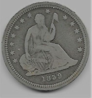 1839 LIBERTY SEATED SILVER QUARTER DOLLAR low mintage