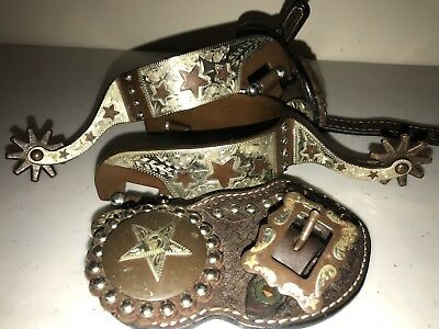 Cowboy Spurs Western Show with Straps Leathers Silver Overlay