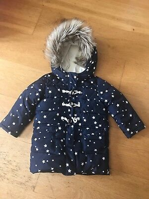 GAP Baby Girls Long  Waterproof Coat  Age 3 Blue With Stars Fur Hood Trim