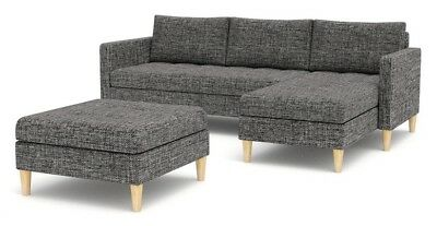 Corner Sofa Bed with Storage and Footstool in Grey Black Brown Red Fabric