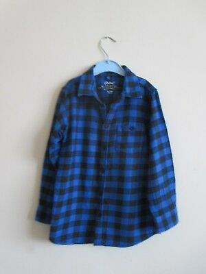Boys Checked Shirt. Age 5-6 Years. Long Sleeve Blue & Black Checked Shirt