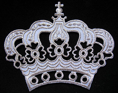 BEAUTIFUL IMPERIAL WHITE SILVER CROWN Embroidered Iron on Patch + Free Shipping