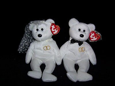 TY Beanie Baby Babies Mr. Groom & Mrs. Bride Bear 2001  MINT Private Collection