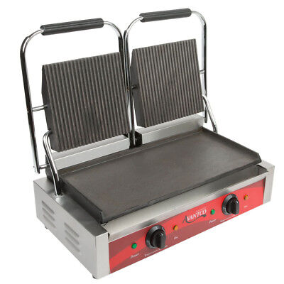Avantco P88SG Double Commercial Panini Sandwich Grill Grooved Top Smooth Bottom
