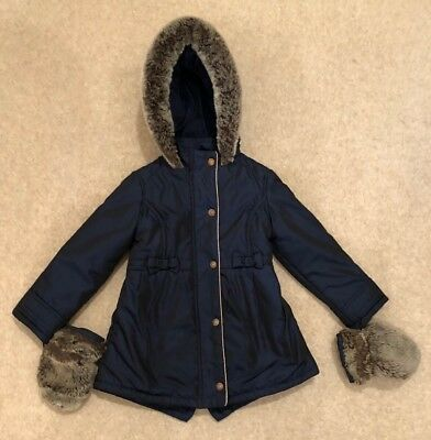 Ted Baker Girls Navy Winter Coat Age 3 - 4 Bows Fur Trim Hood & Fur Mittens