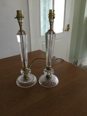 Laura Ashley A Pair Of Attractive Glass Bases With Brass Trim Very Elegant